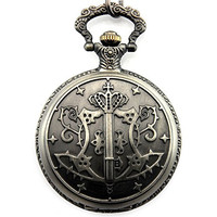 Sinceda Anime Cosplay Kuroshitsuji Black Butler Sebastian Black Pocket Watch