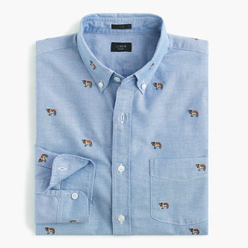 J.Crew Mens Slim Vintage Oxford Shirt With Embroidered St. Bernards