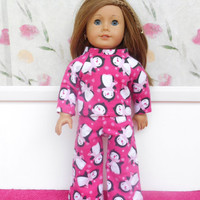 Pink Flannel Doll Pajamas, Pink Pajamas with Penguins, Doll Pyjamas, Winter Doll Clothes, fits 18 Inch Dolls such as American Girl