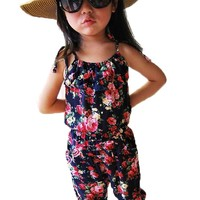 Girls Kids Toddler Baby Sleeveless Jumpsuit Short Summer Playsuit Floral Pants