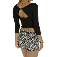 Promo-black Twist Back Crop Top