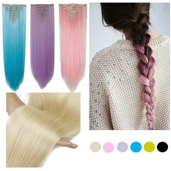 "26"" 66cm Women Long Straight 8pcs/set Clip in hair Extentions  Full Head hair Extension"