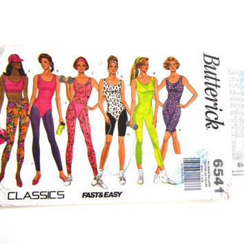Butterick Pattern 6541, Misses All Sizes Unitard Pattern, Workout Pattern, Leotard Pattern, Leggings Pattern, Top and Briefs Pattern, 1990s
