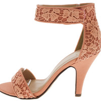 Peach Lace Open Toe Ankle Strap Heels