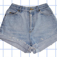 High Waisted Light Wash Denim Cuffed Shorts - Lee - Size 4/6