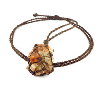 Aragonite necklace, aragonite jewels, macrame necklace, healing crystal, tolerance necklace, orange crystals, yogi gifts, wrapmeacrystal