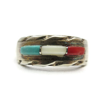 Sterling Native American Ring - Turquoise, Mother of Pearl, Coral, Silver Jewelry, Old Pawn