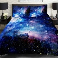 Anlye Hotel Collection Bedding Set 2 Sides Printing Galaxy Quilt Duvet Cover Bed Linens with 2 Matching Green Pillow Cases Queen