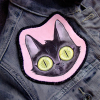 Hand Painted Fabric Patch -Cat Face on Pink- Original Painting