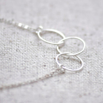 Cumulus necklace - gold filled or sterling three circle rings - simple delicate jewelry