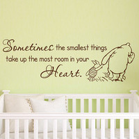 Classic Winnie The Pooh Wall Decal Quote Promise Me You'll Always Remember You Are Braver Stronger Smarter Wall Decal Kids Nursery Decor 033