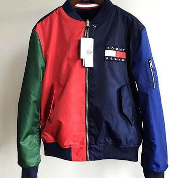 Tommy Hilfiger Fashion Women Hit color Two sides wear With velvet Coat