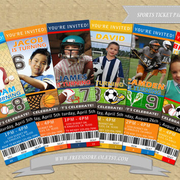 Sports Ticket Birthday Invitation For Kids Party (Football, Baseball, Basketball, Soccer & Lacrosse) (Printable)