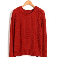 Red Cable Sweater with Vent Details