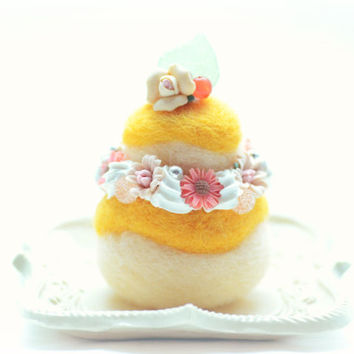 Cake home decor ornament, needl felted cake, soft sculpture Paris religieuse, orange color white cream, fake food miniature, tt team
