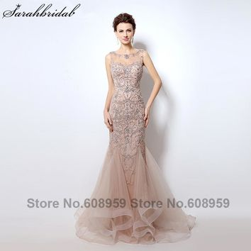 Luxury Rhinestone Mermaid Dubai Long Evening Dresses New Blush Crystal Beading Pearl Sheer Prom Dresses Robe De Soiree LSX006