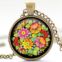 Flowers and Strawberries Necklace Russian Folk Art by FrenchHoney
