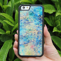 Watercolor Artistic Turquoise flowers iPhone 6/6plus/5S/5/5C/4S/4 Tough Case,Samsung Galaxy S5/S3/S3/Note 3 Silicone Rubber Case