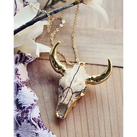 Rosewood Skull Necklace