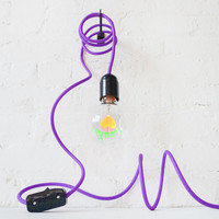 I LOVE YOU Light Bulb Pendant Lamp with Purple Textile Cord