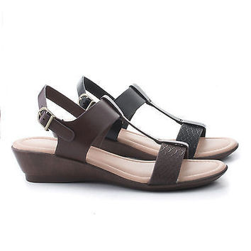 Eddie Comfort Open Toe Slingback Extra Cushion Insole Low Wedge Sandal
