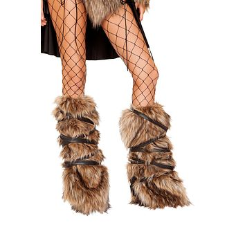 Roma 4894 - Pair of Faux Fur Leg Warmers with Strap Detail Costume