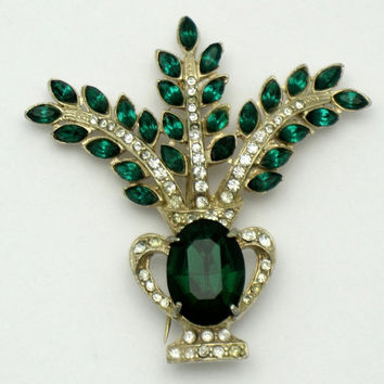 JOSEPH WIESNER NY  Faux Emerald Diamond Rhinestone Flower Basket Brooch Pin