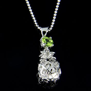 GENUINE PERIDOT 925 STERLING SILVER HAWAIIAN 3D PINEAPPLE PENDANT RHODIUM 9.30MM