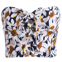 Floral Print Strapless Cropped Top