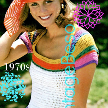 INSTANT DOWNlOAD - PdF Pattern - Top Crochet PATTERN Vintage 70s Rainbow Ladies Stripe Summer Cap Sleeve