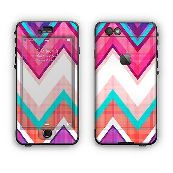 The Vibrant Pink & Blue Chevron Pattern Apple iPhone 6 Plus LifeProof Nuud Case Skin Set