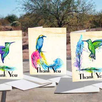 EXOTIC BIRDS ART - - 30 Thank You Note Cards + Envelopes, Photo Matte Finish,5 cards per designed card