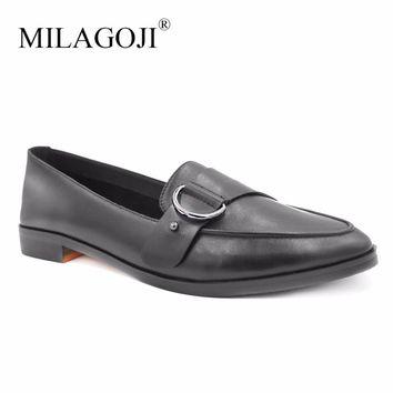 MILAGOJI Genuine Leather Pumps Black 2.1cm Thick & Low Heels Ladies Shoes Pointed Toe Metal ring buckle Shoes Pump Size 35-41