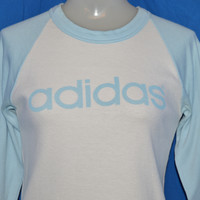 80s Adidas Trefoil Logo White Blue 3/4 Sleeve Ringer t-shirt Women's Small
