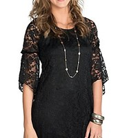 Jody Women's Black Lace 3/4 Bell Sleeve Dress