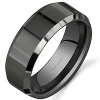 Masonic Gateway Symbol 8 mm Comfort Fit Mens Black Tungsten Wedding Band Ring Sizes 8 to 13