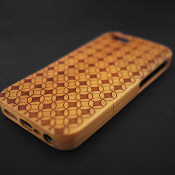 3D Ring Cherry Wood iPhone 5s Case - Real Wood iPhone 5 Case - Custom iPhone 5s Case Wood - Wooden iPhone 5 Case - Christmas Gift