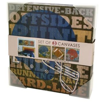 Football Canvas Wrapped Wall Art Set ( Case of 4 )