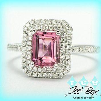 Tourmaline Engagement Ring 2ct Emerald Cut Tourmaline set in a 14k White gold diamond double halo setting