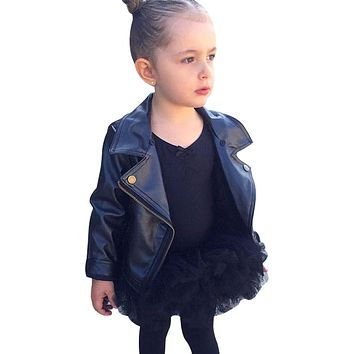 chifuna 2018 PU Leather Jacket Autumn Kids Clothes Children Outwear Baby Girls Boys Clothing Black Solid Color Coats Costume