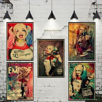 Suicide Squad DC Comics Movie vintage Poster Harley Quinn Retro Kraft Paper Bar Home Decor Painting Wall Sticker Wallpaper
