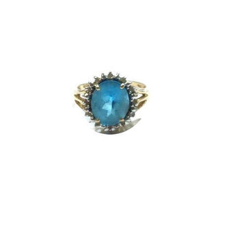 Blue Topaz Gold  Ring , 14K Gold Ring ,  Faceted  Blue Topaz  , Vintage Nissko  Blue Topaz 14k Gold Ring , Size 8 Ring