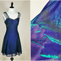 navy blue and green iridescent shimmer holographic sheer strappy cage club mini dress vintage 1990s