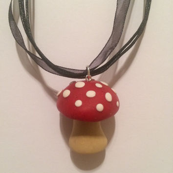 Polymer Clay Toadstool Necklace on a Fabric Chain (Free Organza Gift Bag) mushroom pendant, gifts for women, handmade