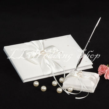 Free shipping,Set of 2pc ivory Pearl and Crystal Satin Wedding Guest Book&Pen Holder Set Wedding Party Decor Wedding Gift  SWD17