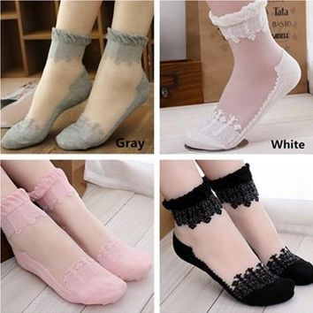 LASPERAL 1Pair Women Lace Ruffle Ankle Sock Transparent Women's Socks Soft Comfy Sheer Silk Cotton Elastic Mesh Knit Frill Trim
