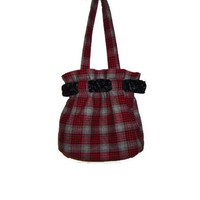 Red and Gray Plaid Round Womens Handbag Purse