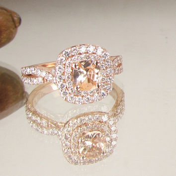 Cushion Peach Champagne Sapphire Infinity Engagement Ring 14k Ro 2593dbad3a