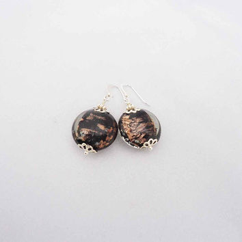 Handmade Earrings, Lampwork Earrings, Glass Earrings, Earrings in Black and Gold