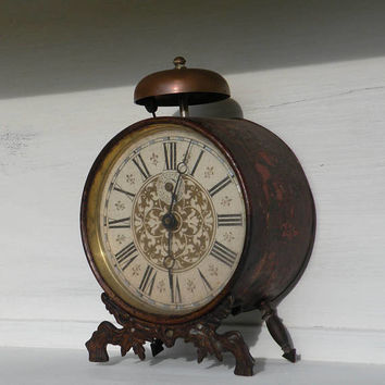 Rare French antique alarm clock shabby chic, tole alarm clock, country home, desktop clock, unique large clock decor, chateau chic old clock